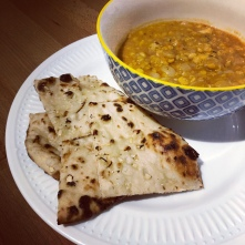 Dal and homemade naan