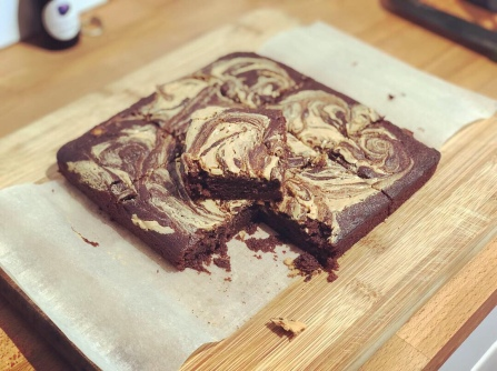 Banana and peanut butter brownie